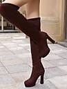 FEMEI - Ghete ( Negru/Albastru/Maro ) - Vârf rotund - Ghete până la genunchi - Imitație de Piele - Chunky Heel