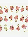 3d faux autocollants nail art décalques accessoire clou or fleur rouge pour bouts d'ongle ongles diy art décorations