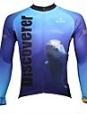 ILPALADINO Homme Manches Longues Maillot de Cyclisme - blanc + bleu ciel Animal Cyclisme Maillot Hauts / Top, Sechage rapide Resistant aux ultraviolets Respirable, Printemps Ete Automne, 100