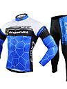 FJQXZ Herr Långärmad Cykeltröja och tights - Vit Cykel Cykling Tights Klädesset, 3D Tablett, Håller värmen, Snabb tork, UV-Resistent,