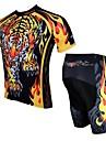 ILPALADINO Herr Kortärmad Cykeltröja med shorts - Svart/Guld Tecknat Djur Cykel Shorts Tröja Klädesset, Snabb tork, UV-Resistent,