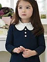 Girl's Cute Doll Collar Winter Thick Velvet Dress Mesh Stitching