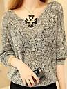 femei v gât cutwork batwing mânecă tricotaje pulover