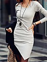 Women's Casual Solicing Asym Long Sleeve Bodycon Dress