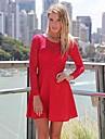 gât femei rochie mini, dantela / albastru negru dantelă elastic / roșu / alb / / sexy