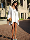 European Style V-Neck Long Sleeve Chiffon Dress