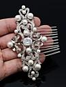 Femei / Fata cu Flori Ștras / Aliaj / Imitație de Perle / Zirconiu Cubic Diadema-Nuntă Piepteni de Păr