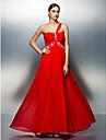 Linia -A Pe Umăr Lungime Podea Tulle Bal Seară Formală Rochie cu Mărgele Detalii Cristal Ruching de TS Couture®