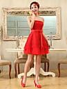 Homecoming rochie de cocktail - Ruby plus dimensiuni o linie / printesa fara bretele scurt / Mini sifon / dantelă