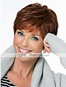 Femme Perruques capless a cheveux humains Brun Fonce Court Coupe Lutin Coupe Degradee Avec Frange Partie laterale