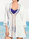 Women's Fashion Sexy White Cotton Hollow-out Kintwear Long Sleeve Sun Prevention Beach Cover-up