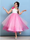 Lanting Bride® Lungime Tea Tulle Rochie Junion Domnișoare Onoare Haine Bal Un Umăr cu Flori