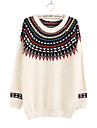 Women's Round Ethnic Style Contrast Color Knitwear Sweater