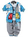 Boy's  Three-piece Suits Lovely Car Infant Long-sleeved Plaid Hooded Coat T-shirt Pants