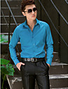 clasic / semi-răspândit gât cu maneci lungi bumbac / poliester cămașă solidă albastru pentru costume