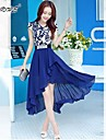 Women's Slim  Blue and White Porcelain Printing Short-Sleeved Dress Swallowtail Special Occasion Dresses 213