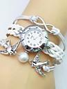 Pentru femei Ceas La Modă Ceas Brățară Quartz Piele Bandă Boem Perlă Alb