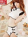 Women\'s Ultra Sexy Uniforms & Cheongsams Nightwear Patchwork Polyester White