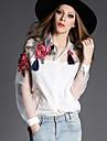 Lång ärm KVINNOR Casual Skjortor ( Konstsilke )med Skjortkrage i Casual stil