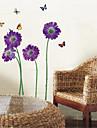 autocolante de perete decalcomanii de perete, violet flori fluture autocolante de perete pvc