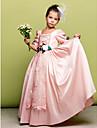 A-line podea lungime floare fata rochie - taffeta 3/4 lungime mâneci gât pătrat de lan ting bride®