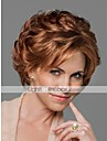 Человеческие волосы без парики Натуральные волосы Волнистый С чёлкой Боковая часть Короткие Без шапочки-основы Парик Жен.