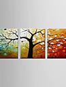 HANDMÅLAD Abstrakt Horisontell Panoramautsikt, Moderna Duk Hang målad oljemålning Hem-dekoration Tre paneler