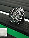 personlig fars dag gåva smycken rostfritt stål draken form silver män ring