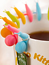 10pcs Set Snail Shaped Tea Bag Holder Cartoon Silicone  Hanging Tea Cup Tools Hangers Random Color