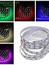 SENCART Flexibla LED-ljusslingor 60 lysdioder Varmvit RGB Vit Rosa Grön Gul Blå Röd Fjärrkontroll Klippbar Bimbar Självhäftande Lämplig