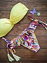 Dame Nailon Push-up Sutiene cu Întăritură Bikini Franjuri Solid Boho Imprimeu