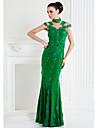 Mulată Gât Înalt Lungime Podea Șifon Dantelă Bal Seară Formală Gală Elegantă Rochie cu Aplică de TS Couture®