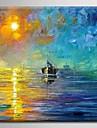 Hang målad oljemålning HANDMÅLAD - Landskap Europeisk Stil Moderna Medelhavet Duk