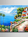 HANDMÅLAD LandskapMedelhavet / Europeisk Stil / Moderna En panel Kanvas Hang målad oljemålning For Hem-dekoration