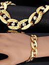 Bărbați Diamant sintetic Figaro lanț / chunky / Solitaire Brățări cu Lanț & Legături / Bratari Vintage - Ștras, Placat cu platină, Placat Auriu Declarație, Personalizat, Modă Brățări Argintiu / Auriu