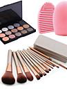 12pcs cosmétique de maquillage outil blush pinceau fond de teint ensemble boîte + 15colors chatoyante palette de fard à paupières + 1pcs