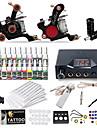 Tattoo Machine Startkit 2 x gjutjärn tatuering maskin för linjer och skuggning LCD strömförsörjning 20pcs st tattoo nålar Klassisk
