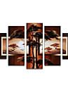 Oil Painting Hand Painted - Abstract Canvas Five Panels