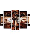 HANDMÅLAD Abstrakt vilken form som helst Duk Hang målad oljemålning Hem-dekoration Fem paneler