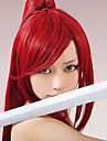Parrucche Cosplay Fairy Tail Erza Scarlet Rosso Anime Parrucche Cosplay 40 pollice Tessuno resistente a calore Per donna Parrucche di Halloween