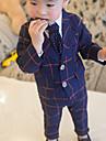Băieți Set Îmbrăcăminte Plisat Carouri Bumbac Toamnă Manșon Lung Verificare Albastru Închis Gri