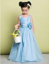 A-line podea lungime floare fata rochie - organza mâneci fără curea cu flori de lan ting bride®