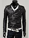 Bărbați Rever Peaked Jachetă Party / Seara Purtare Zilnică Șic & Modern,Culoare solidă Mânecă Lungă Iarnă Toamnă-Regular Imitație de Piele