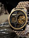 Oulm Bărbați Ceas Militar Ceas de Mână Quartz Quartz Japonez Zone Duale de Timp Oțel inoxidabil Bandă Luxos Negru Bronz Roz auriu