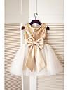 גזרת A באורך  הברך שמלה לנערת הפרחים - טול / נצנצים ללא שרוולים עם תכשיטים עם נצנצים / פפיון(ים) על ידי LAN TING Express