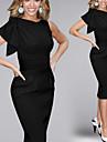 Asymmetrisk KVINNOR Klänningar ( Bomullsblandning / Polyester )med Rund i Vintage / Sexig / Bodycon / Casual / Party stil
