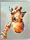 Hang-ζωγραφισμένα ελαιογραφία Ζωγραφισμένα στο χέρι - Ζώα / Ποπ Άρτ Μοντέρνα Καμβάς / Επενδυμένο καμβά