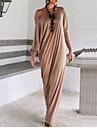 Femme simple Coton Ample Robe - A Volants, Couleur Pleine Maxi
