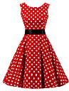 Pentru femei Ieșire Vintage Bumbac Linie A Rochie - Imprimeu, Buline Lungime Genunchi Roșu