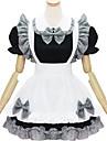Lolita Stil Gotic Draguț Pentru femei Costume Menajeră Cosplay Alb Negru Manșon scurt Lungime scurtă